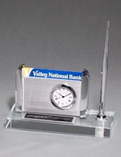 Clock, Pen, and Business Card Holder