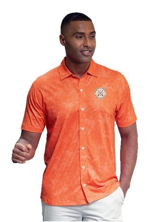 man wearing an orange Hawaiian shirt with round logo