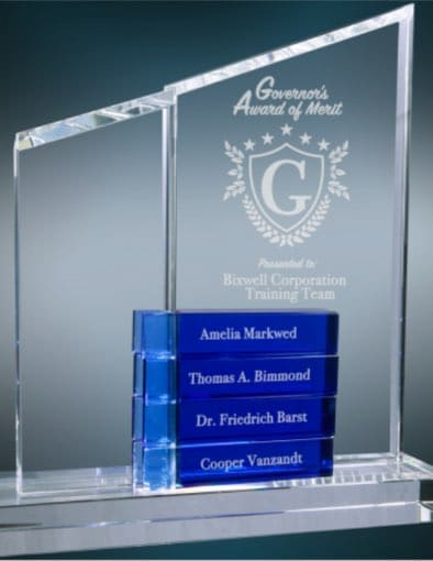 Blue Optical Crystal Awards