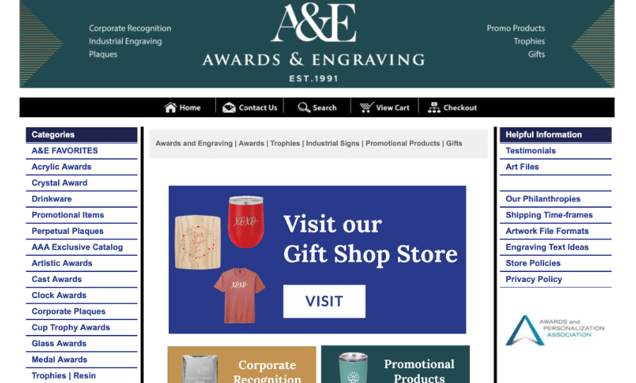 Screenshot of Shop Page